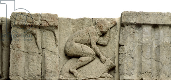 Metope with figure riding a tortoise, from Paestum, the Heraion at the mouth of the Sele River